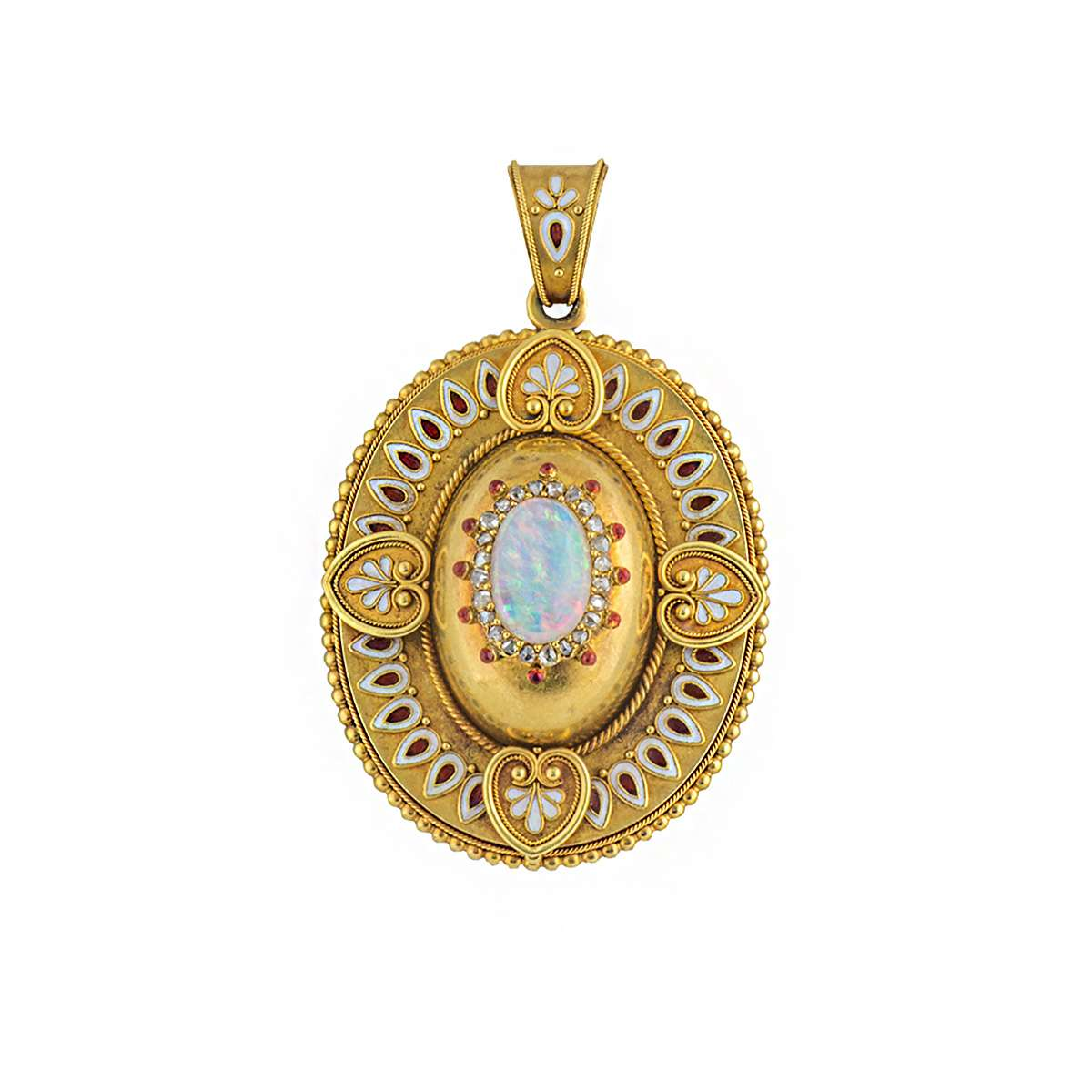 Opal, Diamond and Enamel Locket Pendant Circa. 1880's